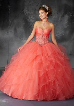 Valencia Quinceanera by Morilee 60053 Crystal Beaded Corset Bodice with Draped Satin Detail on a Ruffled Tulle Ball Gown. Matching Bolero Jacket Elegantly laced corset bodices w Pretty Prom Dresses, Sweet 16 Dresses, 15 Dresses, Ball Dresses, Cute Dresses, Ball Gowns, Chiffon Dresses, Strapless Dress, Fashion Dresses