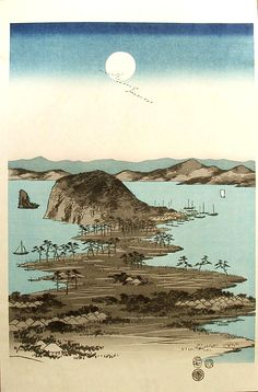 The Eight Views of Kanazawa under a Full Moon (Center), by Hiroshige