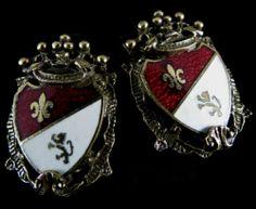 Coro Signed Earrings Regal Vintage Gold Tone Red White Enamel Heraldic Shield | eBay
