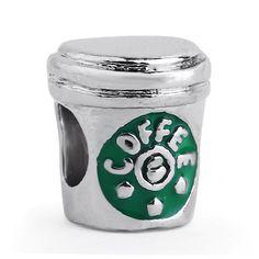 Envío gratis 1 UNID Plateado Taza de Café de Moda de Metal Encantos Adapta Estilo Pandora Pulseras Del Encanto
