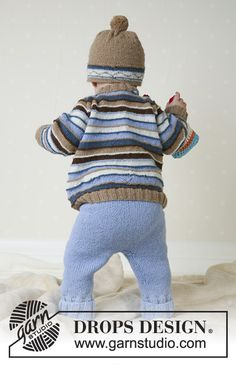 Ravelry: Swab the Deck pattern by DROPS design Baby Knitting Patterns, Baby Sweater Knitting Pattern, Knitting For Kids, Baby Patterns, Free Knitting, Deck Patterns, Baby Bloomers Pattern, Drops Baby, Magazine Drops