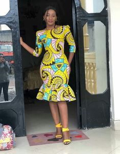 """""""Thanks for stopping by! An ankara dress made from quality ankara print to make you appear extremely elegant. Suitable for prom and other events. Please note that it can be sewn with other beautiful… Photos Comments """" Latest African Fashion Dresses, African Print Dresses, African Print Fashion, African Dress, Fashion Prints, Nigerian Fashion, Ankara Fashion, Ankara Short Gown Styles, Short Gowns"""