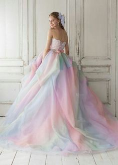 Ombre Ball Gown Charming Prom Dress, long prom dress, evening dress,prom dress, in 2019 Pastel Wedding Dresses, Rainbow Wedding Dress, Pretty Prom Dresses, Ball Dresses, Cute Dresses, Ball Gowns, Awesome Dresses, Shift Dresses, Dresses Uk