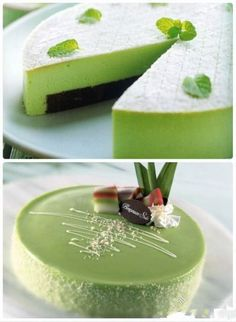 Matcha cake - awesome looking, cheers to the baking chiefs in Australia! - think Matcha Asian Desserts, Just Desserts, Tea Cakes, Cupcake Cakes, Green Tea Dessert, Matcha Cake, Decoration Patisserie, Cake Recipes, Dessert Recipes