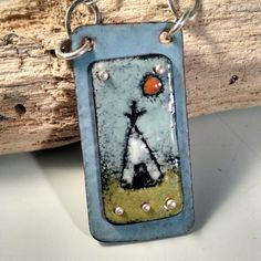 Teepee...torched fired enamel by Lonesome Dove Designs.