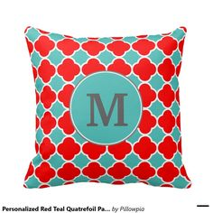 Personalized Red Teal Quatrefoil Pattern Throw Pillow