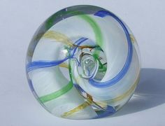 Caithness Crytal Glass Ribbons Paperweight - Vintage 1990's Swirling Coloured Glass Design Scottish Art Glass Alastair Macintosh