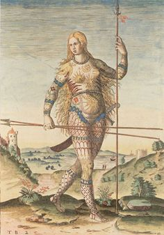 Pict Warrior - Engraving by Theodore de Bry based on paintings by John White via LUCY CHEUNG