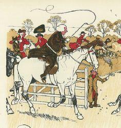 Cecil Aldin Original Antique Fox Hunting Hunt Horse Print Art Matted Rare c1900