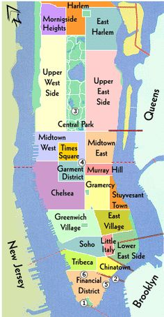 If you know your neighborhoods, you know Manhattan. Learn the main streets and avenues of each neighborhood and navigate NY like a pro. The Upper East Side; home to the elite. East Village; home to the bohemians. Chelsea, Soho, Tribeca and so on.