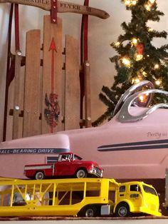 Diecast cars in my Christmas decor. Danbury Mint, pedal car & sled. #vintage