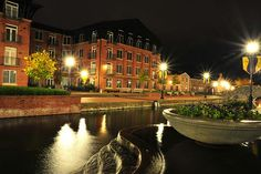 Carroll Creek at night in Frederick, MD