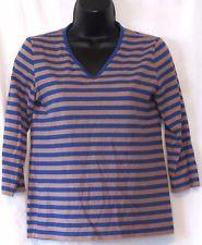 MARIMEKKO Blue/Tan Striped Cotton Knit V-Neck Pullover Top - Sz XS