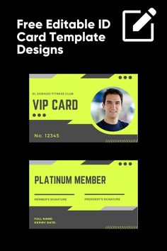 We've used these designs to create a library of free editable ID Card Template Designs that you can use to create your own ID Card for any business or organization Id Card Template, Card Templates, Free Gym Membership, Free Id, Vip Card, Club, Fitness, Names, Feelings