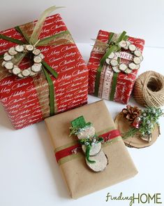 Wood Slice Wreath and Snowman Wrapping from Finding Home