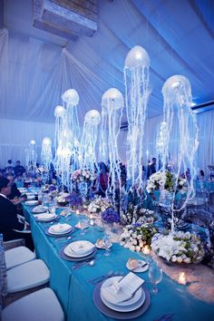 Under the sea event diy centerpieces seashells ocean theme under the sea wedding motif with hanging jellyfish table decorations great aquarium wedding idea junglespirit Gallery