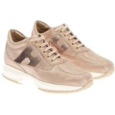 Hogan Interactive Sneakers (14,115 PHP) ❤ liked on Polyvore featuring shoes, sneakers, beige, leather sneakers, hogan shoes, leather footwear, beige shoes and hogan sneakers