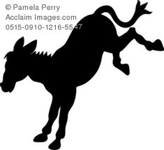 Clip Art Illustration of a Donkey Silhouette