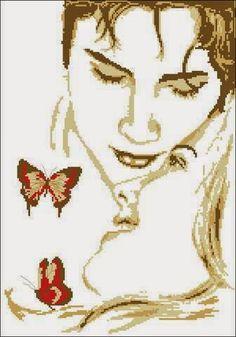 Hobby lavori femminili - ricamo - uncinetto - maglia: Schema punto croce Innamorati con Farfalle