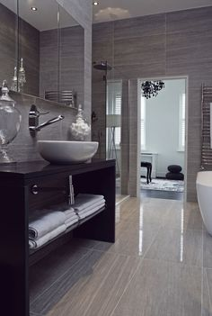 Grey is quickly becoming the colour of choice when it comes to bathroom styling. Best grey #bathroom ideas