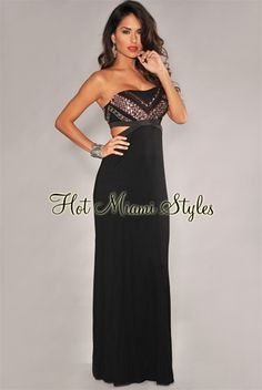 8dbcda5ce9e6 Black Jeweled Cut-Out Sides Slit Maxi Dress clubwear cocktail Women's  clothing hot miami styles