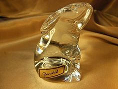 """BEAUTIFUL Vintage Baccarat Crystal Bunny Rabbit with Original label.  The Figurine is signed and stands 3 1/2"""" Tall.  EXCELLENT CONDITION! by VintageQualityFinds on Etsy"""