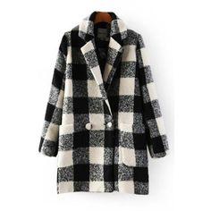 Black White Plaid Lapel Neck Two Pockets Stylish Coat ($35) ❤ liked on Polyvore featuring outerwear, coats, pocket coat, tartan coat, plaid coat, long sleeve coat and black and white plaid coat