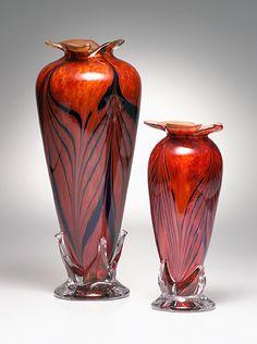 "*Art Glass - ""Lurora Red and Colbalt Feathered Vase"" by Dierk Van Keppel"