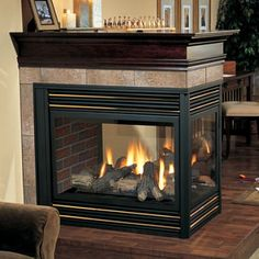 Kingsman direct vent peninsula fireplace woodlanddirect the pier design allows you to enjoy warmth beauty from all three sides of the use this fireplace as a subtle room divider or bring two rooms together with teraionfo