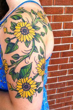 Id sunflower tattoo design, sunflower tattoos, daisy flower tattoos, fl Sunflower Tattoo Simple, Colorful Flower Tattoo, Daisy Flower Tattoos, Sunflower Tattoo Sleeve, Sunflower Tattoo Shoulder, Sunflower Tattoos, Sunflower Tattoo Design, Floral Tattoos, Forearm Tattoos