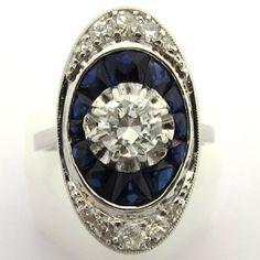Bague de fiançailles art déco en platine diamant et saphir. 2900 euros TTC  #bague #vintage #fiancailles #paris