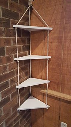 Amazon.com: 4 tier corner nautical rope swing shelf / nautical decor / nautical shelving / nautical nursery / ocean decor / hanging shelf / shelving Active: Handmade