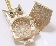 Whimsical Vintage OWL Perfume Locket Pin Pendant Necklace