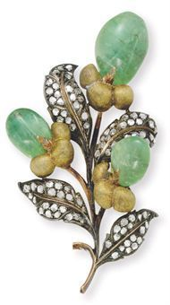 diamond and emerald brooch, by Buccellati