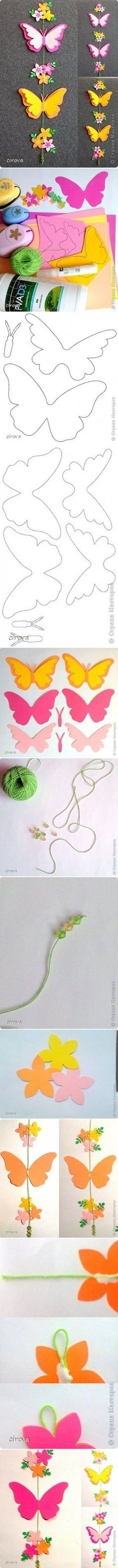 How to make Paper Butterfly Mobile step by step DIY tutorial instructions - foamy / goma eva: