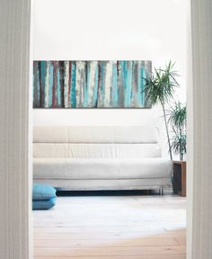 Landscape Abstract painting  Striped Turquoise door RonaldHunter, $399.00