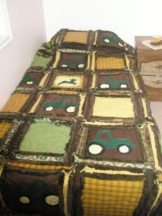 RAG QUILT Tractor Twin Size Blanket Made to by avisiontoremember