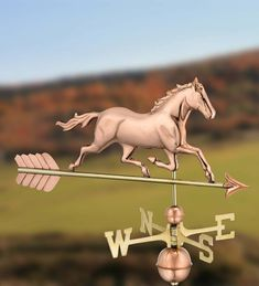The classic design of this Copper and Brass Horse Weathervane makes it a handsome addition to the roof of any home, garage, barn or gazebo. Copper And Brass, Pure Copper, Solid Brass, Weather Instruments, Wind Direction, Great Gifts For Dad, Wind Spinners, Garden Art, Fathers Day Gifts