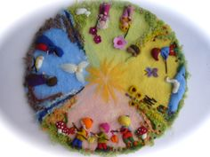 XXL:Seasonable circle, Picture,tapestry,Wall hanging,Wet felted,Needle Felted.
