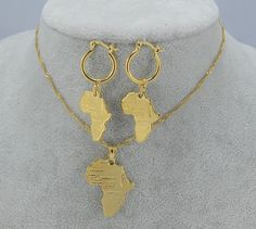 Gold African Jewelry Set Necklace and Earrings