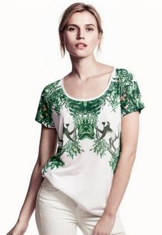 White Short Sleeve Plant Monkey Print T-Shirt - Sheinside.com