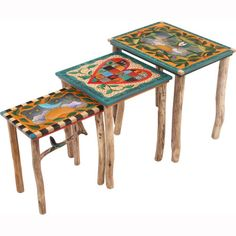 Sticks Nesting Tables END007 S316940a, Artistic Artisan Designer Tables