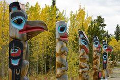 Tlingit clan poles 9136 by Yukon White Light, via Flickr