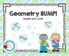 Have students practice identifying angles and lines with this bump game.  All you need to supply is 1 six-sided dot die and counters.    Use this activity as a fun math center to help your student review:    *acute, right and obtuse angles    *intersecting, parallel and perpendicular lines  Enjoy!