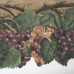 Tuscany Grapes Vine & Deep Green Leaves - Wallpaper Border C021 #BlueMountainWallcovering #Country #Wallpaper