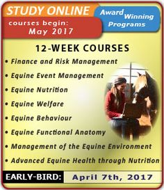 Jan 2017 online courses from Equine Guelph are now open for registration! http://www.equinestudiesonline.ca/schedule/