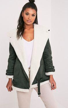Khaki Faux Suede Oversized Aviator JacketLook on point this season with this aviator jacket, feat...