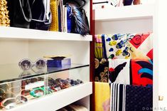 Exclusive: Jaime King Gets a Dream Closet Makeover via @domainehome. A place for sunglasses! pullout lined in soft fabric