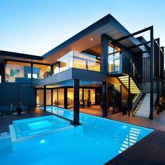 Spanish Mediterranean Architecture modern home Architecture Durable, Architecture Design, Residential Architecture, Modern Exterior, Exterior Design, Auto Gif, Modern Mansion, Modern Houses, Home Fashion