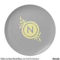 Yellow on Grey Floral Monogram Plates